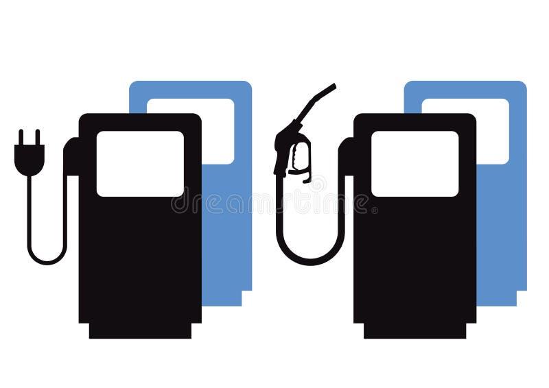 Ladda upp det elektriska medlet eller tanka gas stock illustrationer