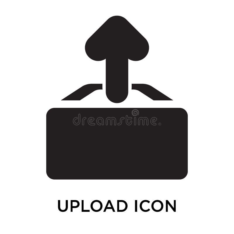 Ladda upp det symbolsvektortecknet och symbolet som isoleras på vit bakgrund, royaltyfri illustrationer