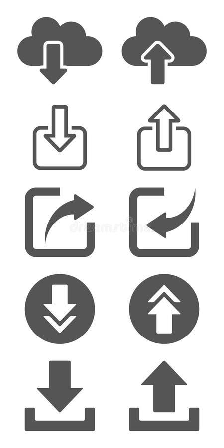 Ladda upp och nedladda symbolsuppsättningen royaltyfri illustrationer