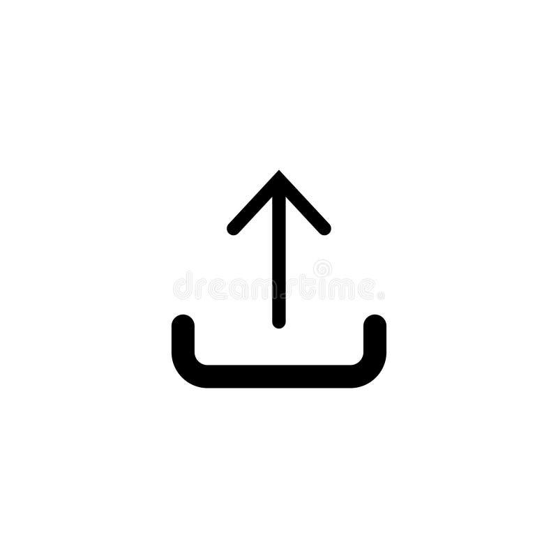 Ladda upp symbolen i moderiktig plan stil som isoleras på vit bakgrund stock illustrationer