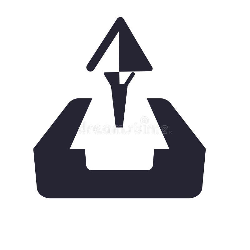 Ladda upp symbolsvektortecknet, och symbolet som isoleras på vit bakgrund, laddar upp logobegrepp stock illustrationer