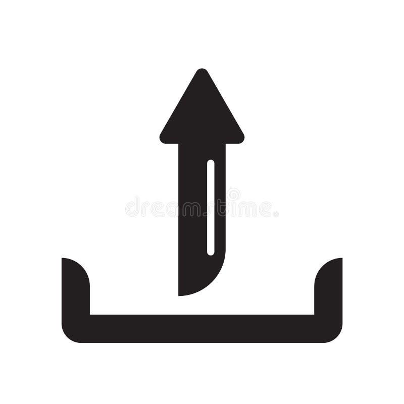 Ladda upp tecknet och symbolet för mappsymbolsvektor som isoleras på vit bakgrund som laddar upp mapplogobegrepp royaltyfri illustrationer