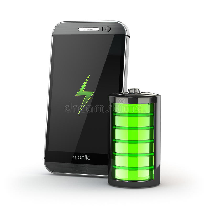 Laddande begrepp för mobiltelefon Smartphone och batteriladdning ind stock illustrationer