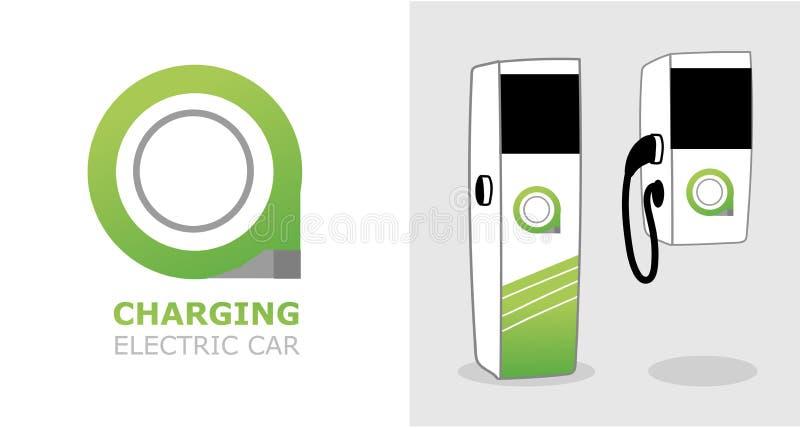 Laddande Eco elektrisk station för transportvektor stock illustrationer