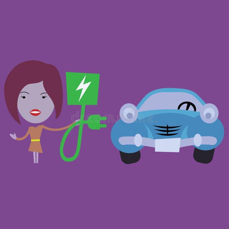 Laddande elbil för ung kvinna royaltyfri illustrationer