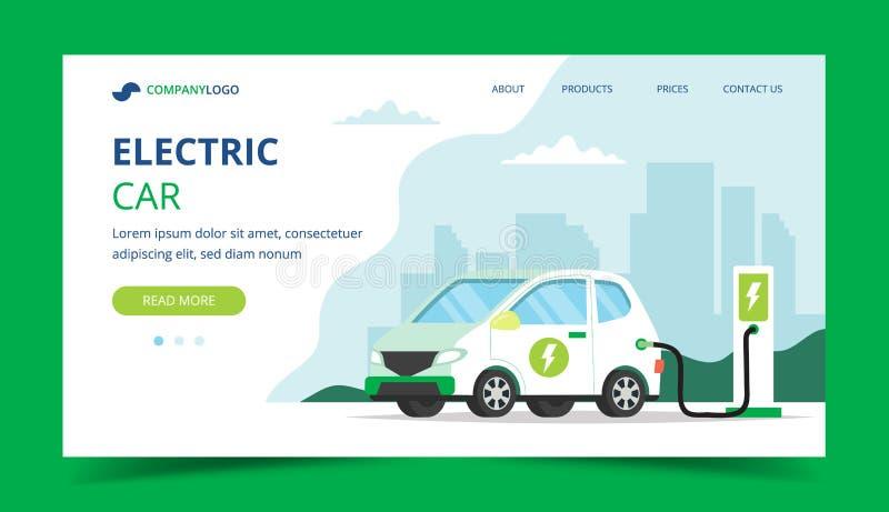 Laddande landningsida för elbil - begreppsillustration för miljön, ekologi, hållbarhet, ren luft, framtid royaltyfri illustrationer