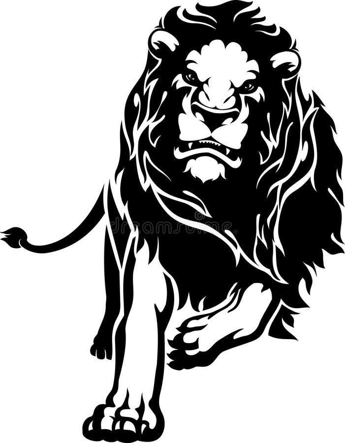 Laddande lejon royaltyfri illustrationer