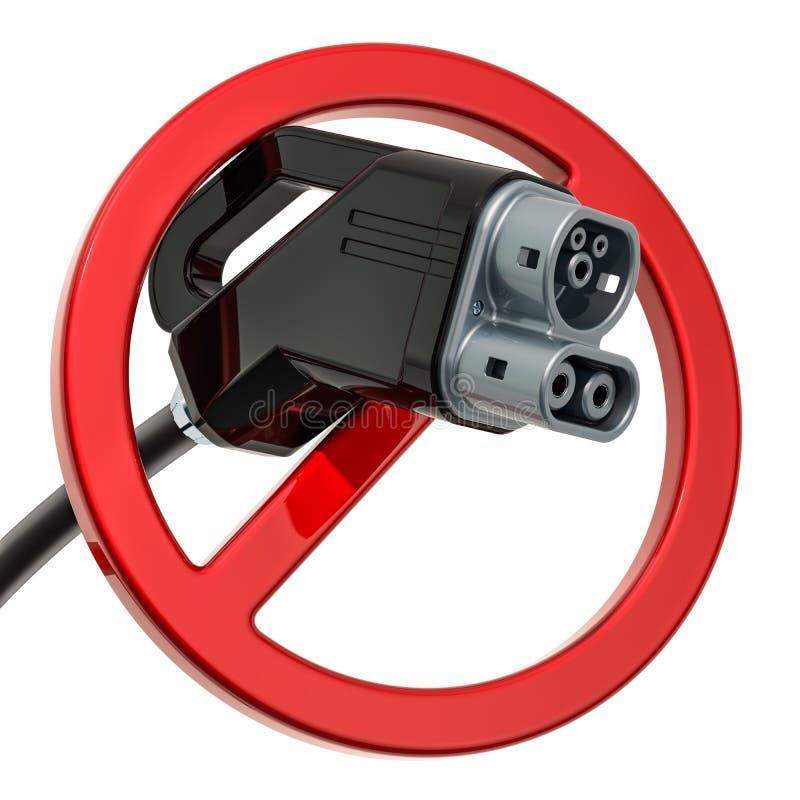 Laddande propp för elbil med det förbjudna tecknet, tolkning 3D stock illustrationer