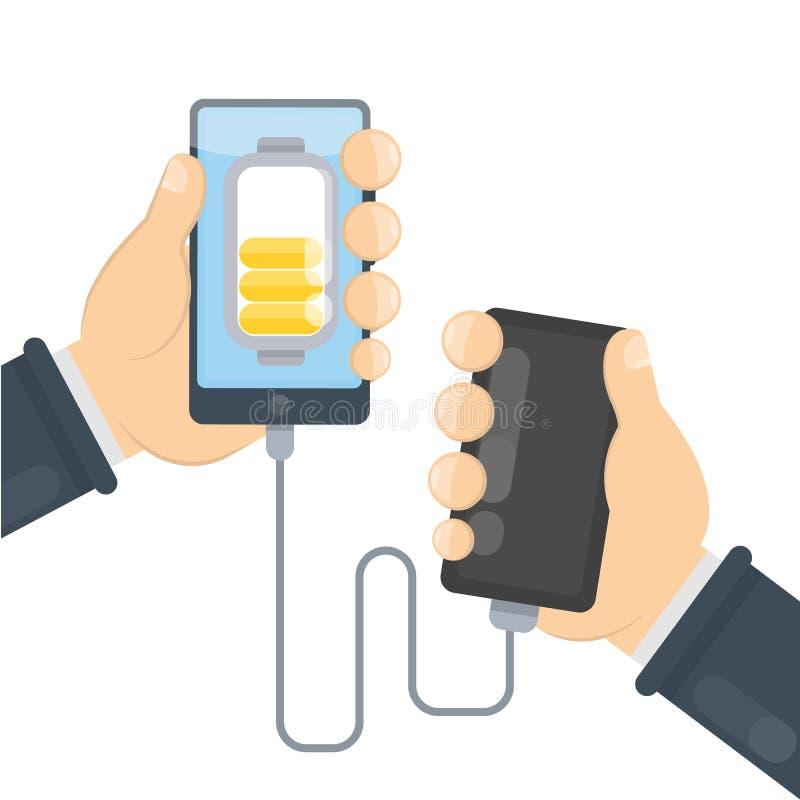 Laddande telefon med maktbanken royaltyfri illustrationer