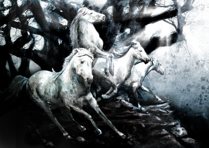 Laddande vita hästar vektor illustrationer