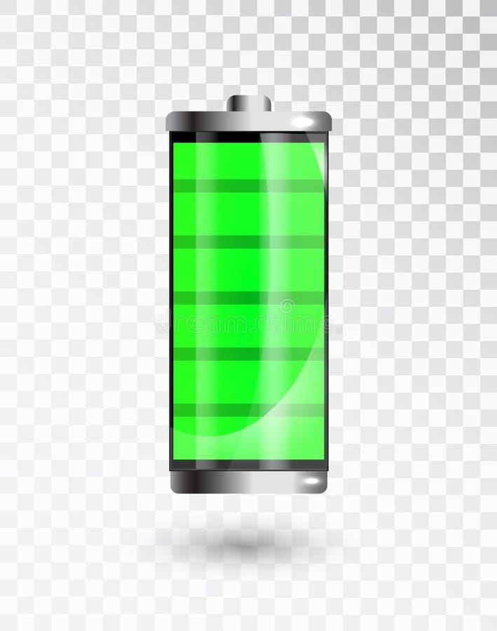 Laddat batteri Fullt laddningsbatteri Indikator för batteriuppladdningsstatus Glass realistiskt maktgräsplanbatteri stock illustrationer