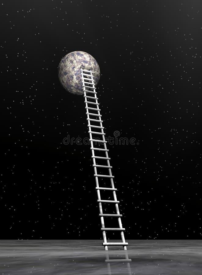 Ladder aan de 3D maan - geef terug stock illustratie