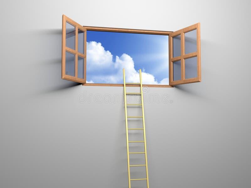 Ladder aan de hemel stock illustratie