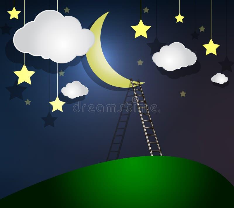 Ladder aan de maan stock illustratie