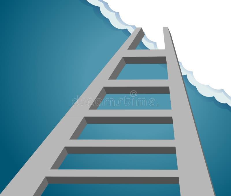 Ladder aan de toekomst ladder aan hemel en wolk stock illustratie