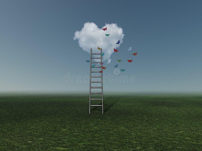 Ladder aan hartwolk vector illustratie