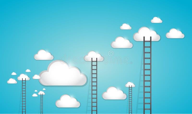 Ladder aan het ontwerp van de wolkenillustratie royalty-vrije illustratie