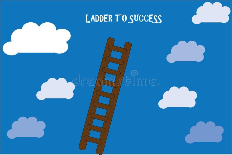 Ladder aan succes met blauwe hemel en wolken vector illustratie
