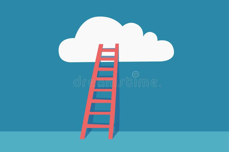 Ladder aan wolken Vector met minimalistic ontwerp vector illustratie