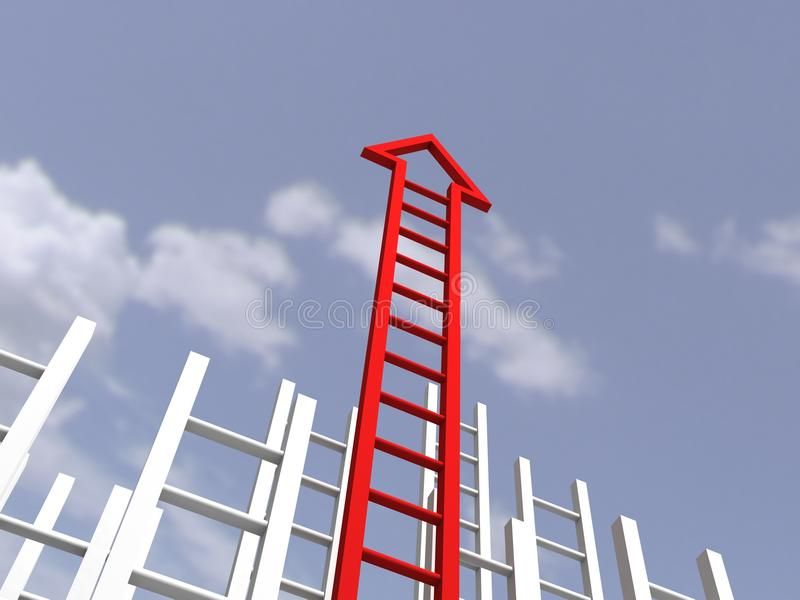 Ladder of acheivment. success and persistence. Concept vector illustration