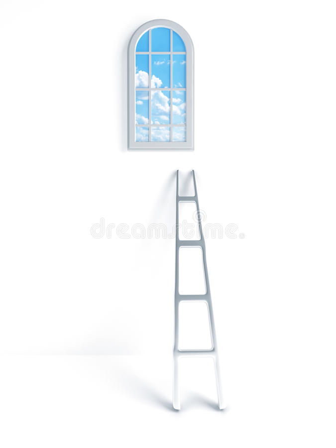 Ladder against the wall royalty free stock images