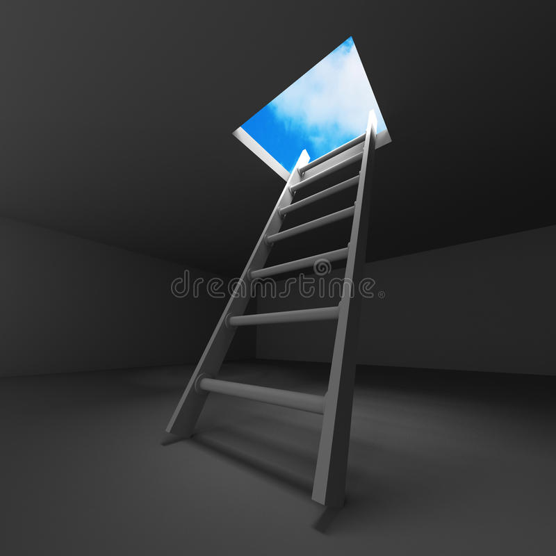 Ladder Into Hole In Heaven Stock Illustration