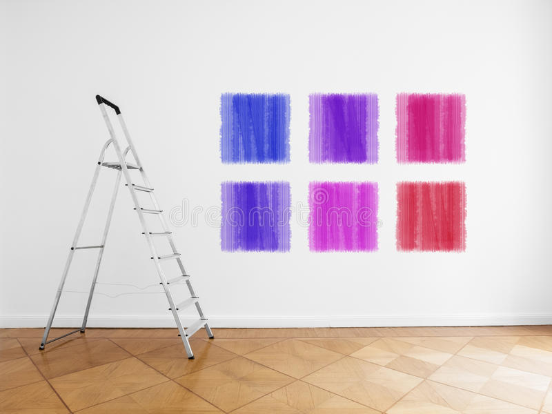 Ladder in empty room, white wall with colored paint samples stock photos