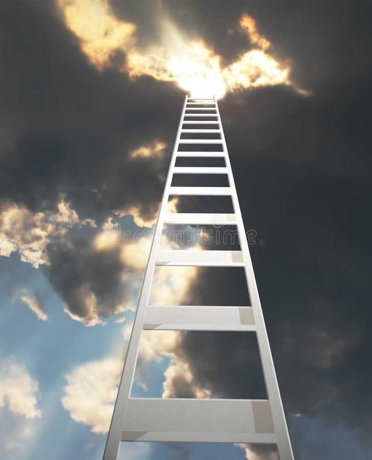 Free Ladder Extending To A Dramatic Clouds Royalty Free Stock Photos - 6201048