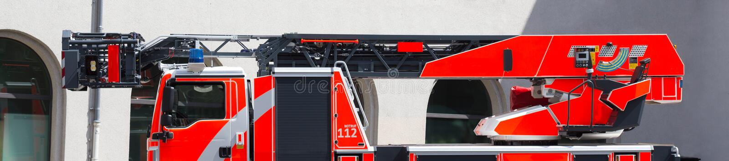 Ladder fire truck. A plain modern ladder fire truck stock photos
