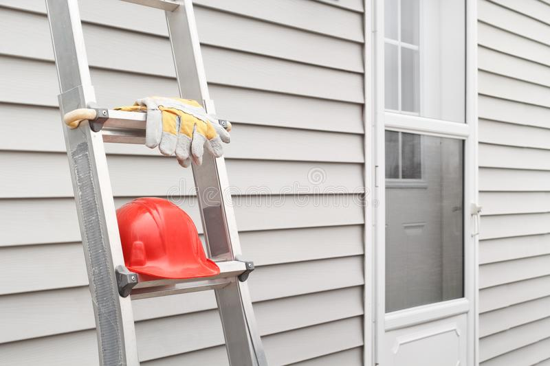 Ladder, Gloves And Hard Hat royalty free stock photos