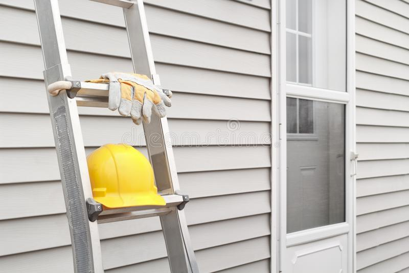 Ladder, Gloves And Hard Hat royalty free stock photo