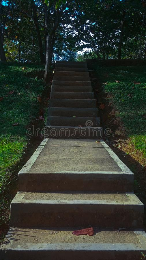 High Ladder stairs. The ladder has the goal of making it easier for people to rise to a higher surface stock images
