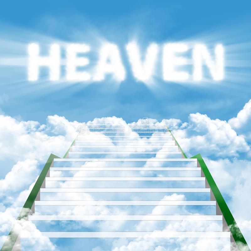 Ladder of heaven. Illustration of a long ladder leading upward to heaven