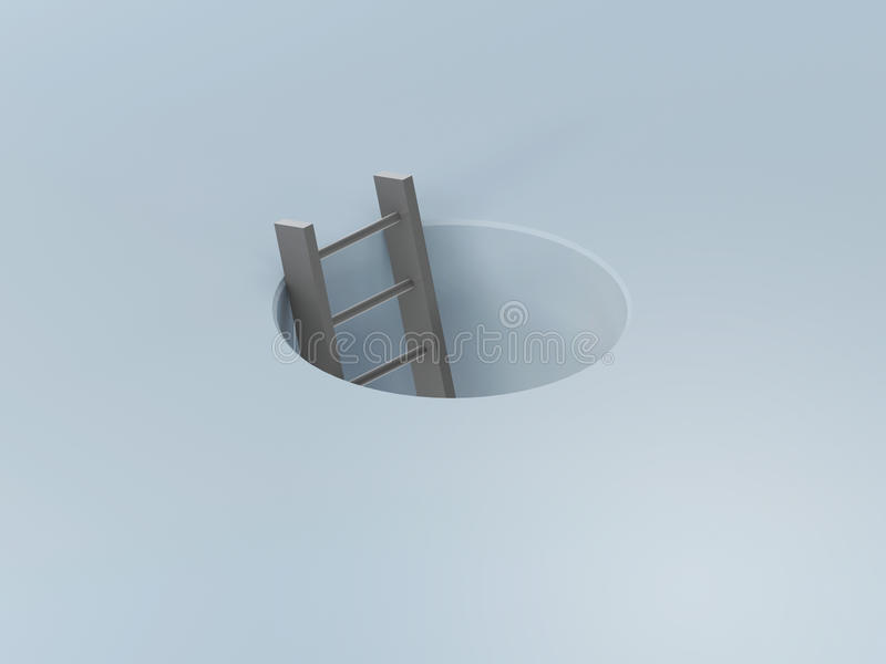 Ladder In A Hole Royalty Free Stock Photography
