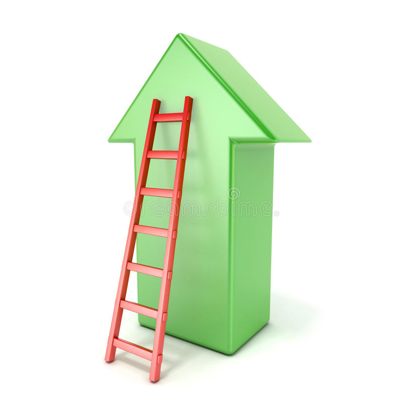 Ladder leading an green arrow. Success concept royalty free illustration