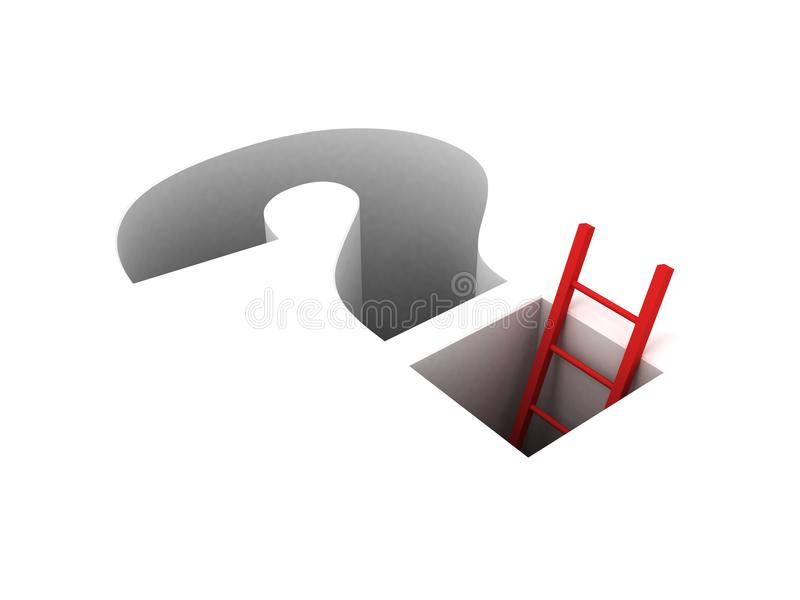 Ladder leading from the question.success solution royalty free illustration