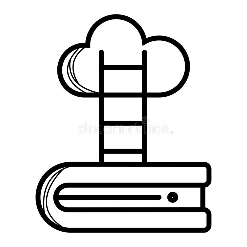 Ladder leading to cloud icon. Vector stock illustration