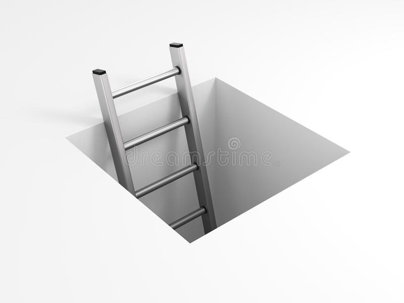 A ladder leading from underground. Isolated on white background royalty free illustration