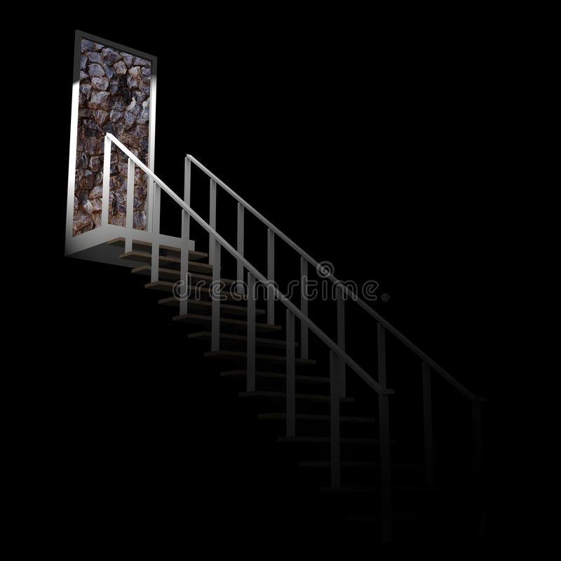 Ladder leading up to the rock wall dead end. royalty free stock photography