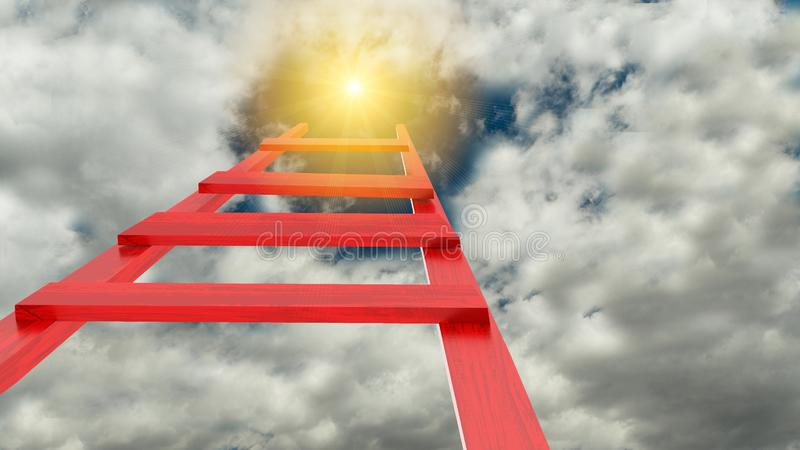 Ladder leads to sun sky god. High stock photography