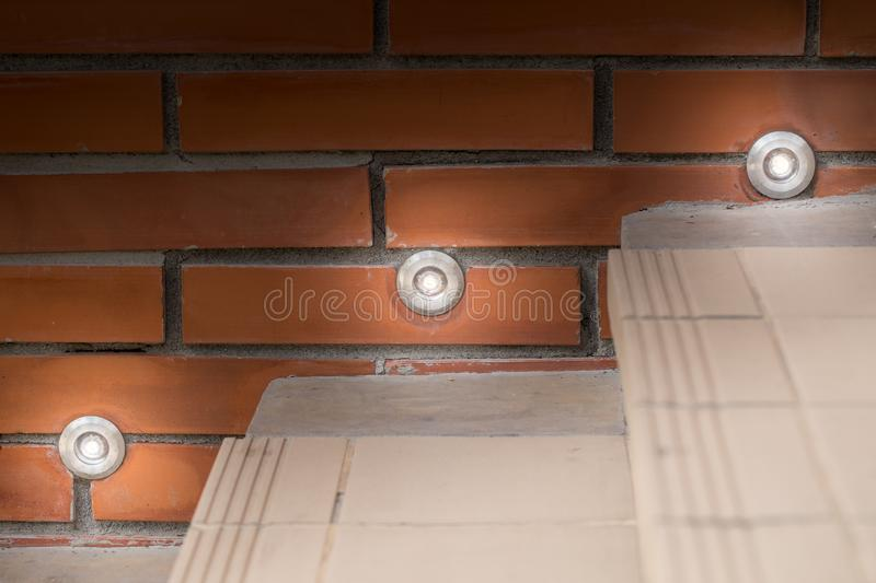 Ladder lighting, LED small ladder lam. P for safety step in night time royalty free stock photo