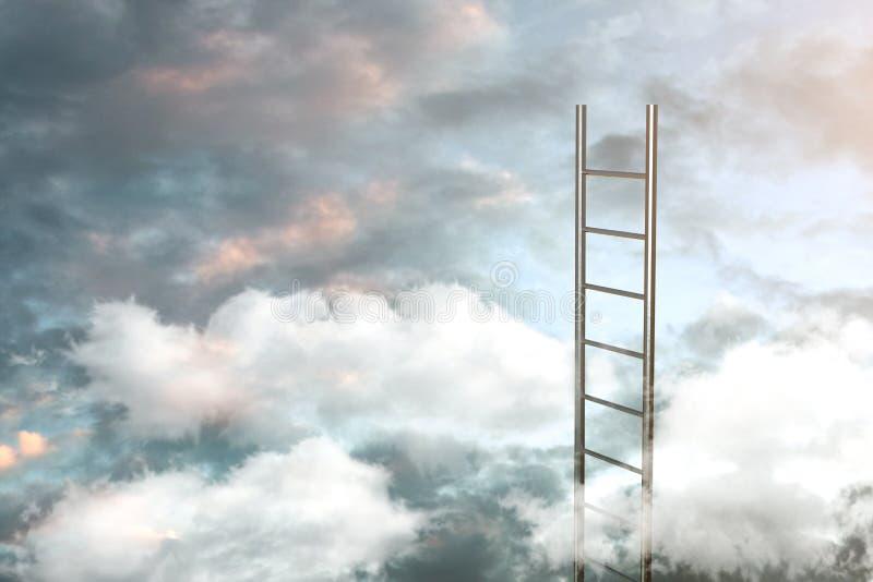 Ladder op wolken met hemelachtergrond - Manier aan succesconcept 3D Illustratie vector illustratie