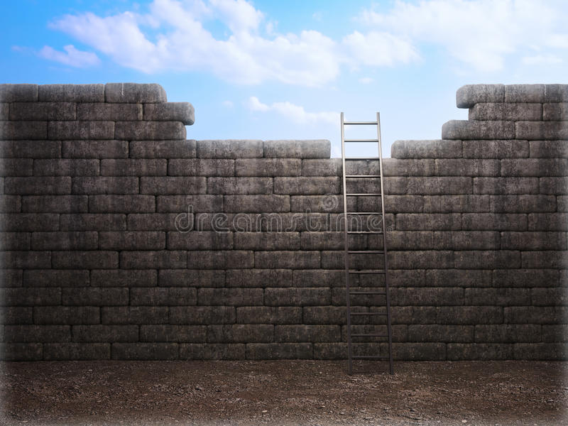 Download Ladder over the wall stock illustration. Illustration of freedom - 23258022