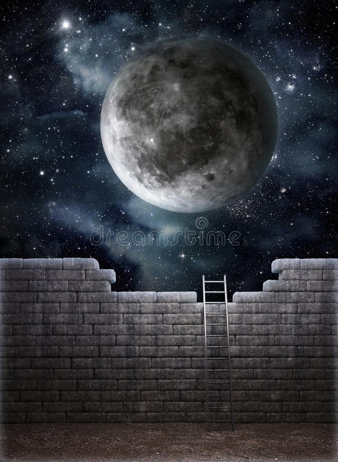 Download Ladder over the wall stock illustration. Image of cloud - 26016104