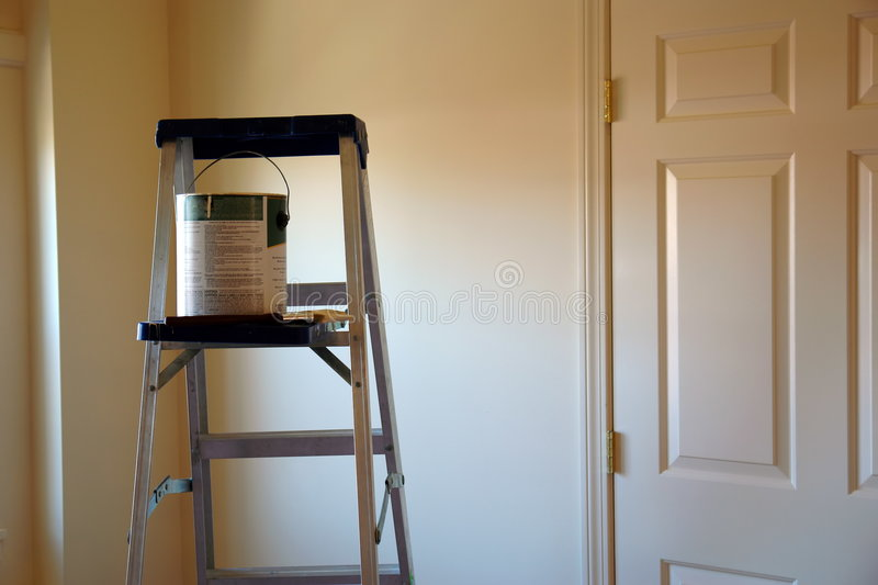 Download Ladder With Paint Can And Brush Stock Photo - Image: 1508446