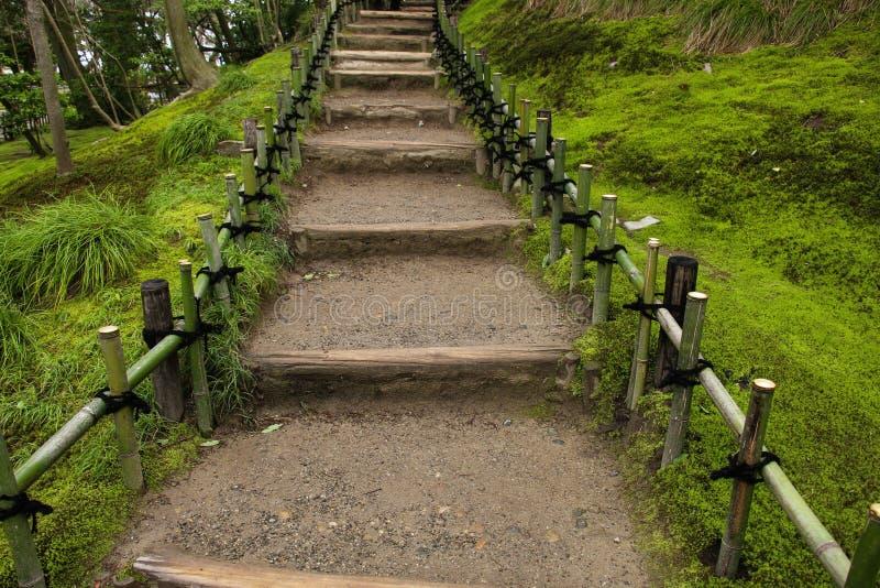 Ladder and railing of bamboo in Garden Kenrokuen in Kanazawa, Japan.  royalty free stock images