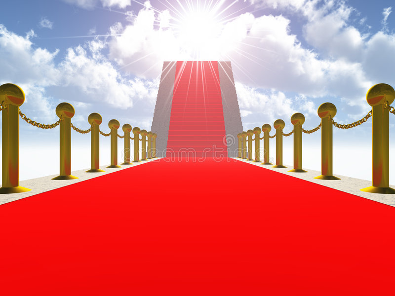 Ladder with a red carpet