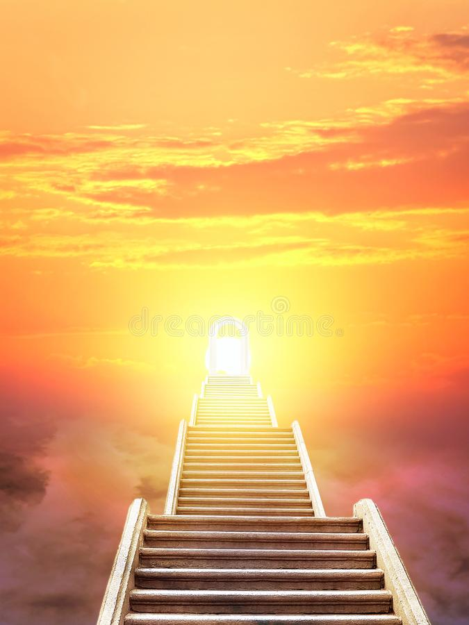 Ladder rising to the rising sun royalty free stock photography
