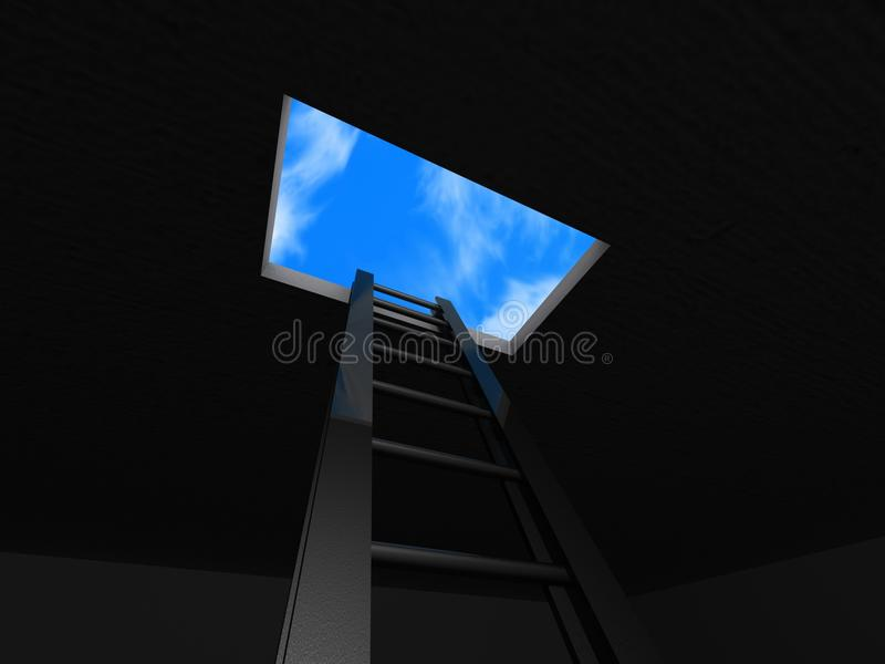 Ladder Through Roof Royalty Free Stock Photos