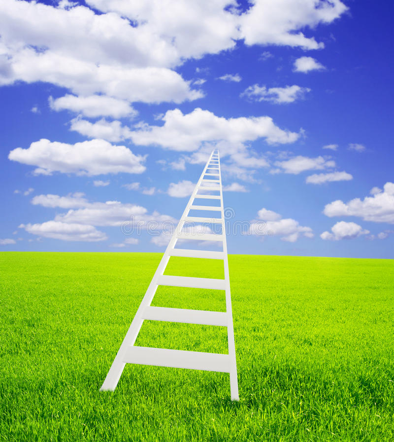 Ladder in the sky. Conceptual image - ladder in the sky stock images